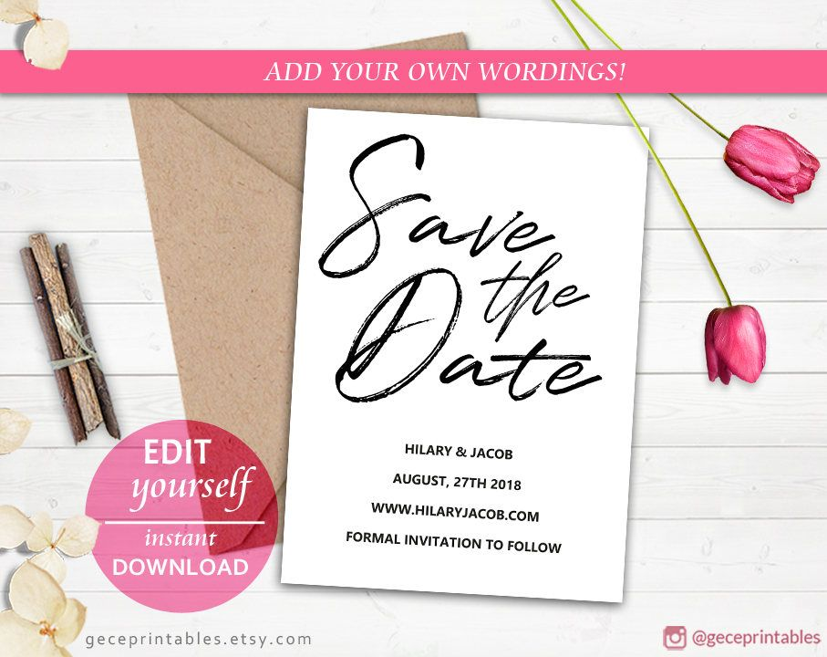 Handwritten Printable Save The Date Template Editable PDF Download