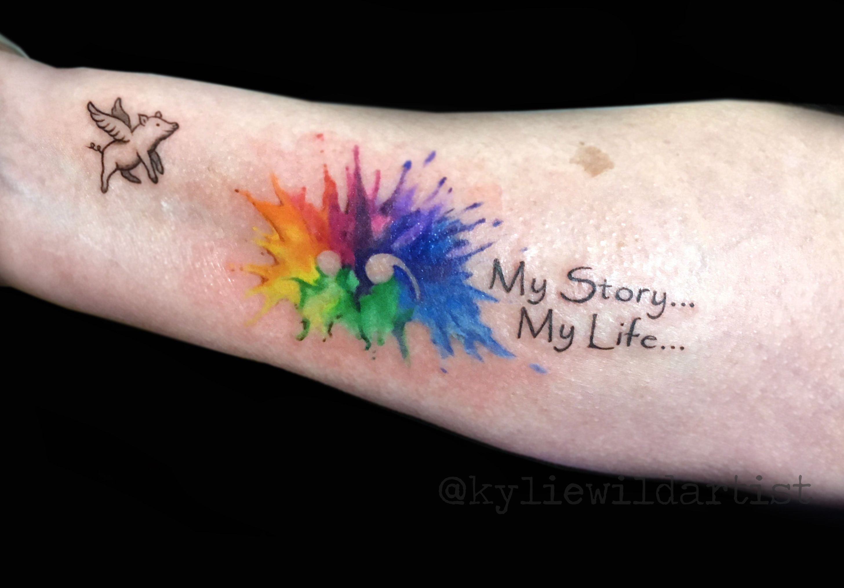 Semi Colon Project Rainbow Watercolor Splash And A Little Flying Pig By Kylie Wild Heslop Tattoo Artist Www Rainbow Tattoos Pride Tattoo Tattoos For Daughters