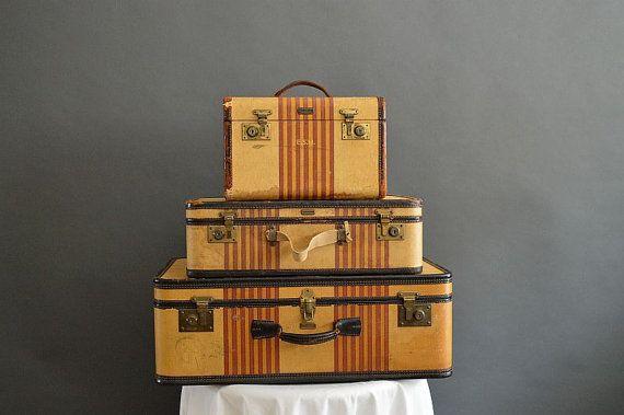 Vintage  Oshkosh Stripped Luggage