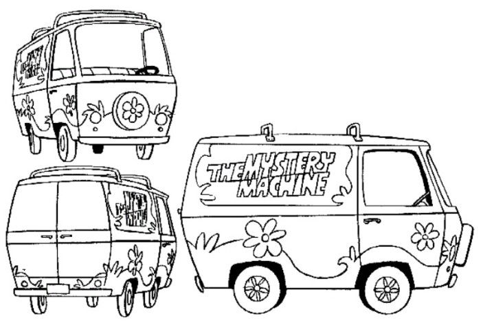 The Mystery Machine Free Scooby Doo Coloring Pages Cartoon