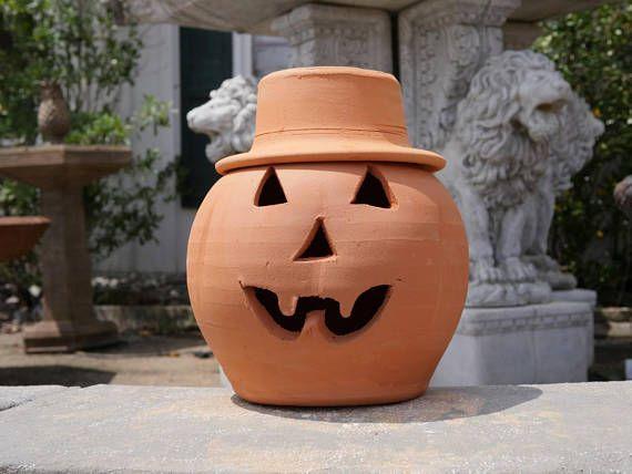 2 Gallon Terra Cotta Jack O Lantern Pumpkin With Hat From Craven Pottery Jack O Pottery Lanterns