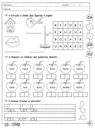 Atividades De Alfabetiza C3 A7 C3 A3o Infantil Consoantes B A M