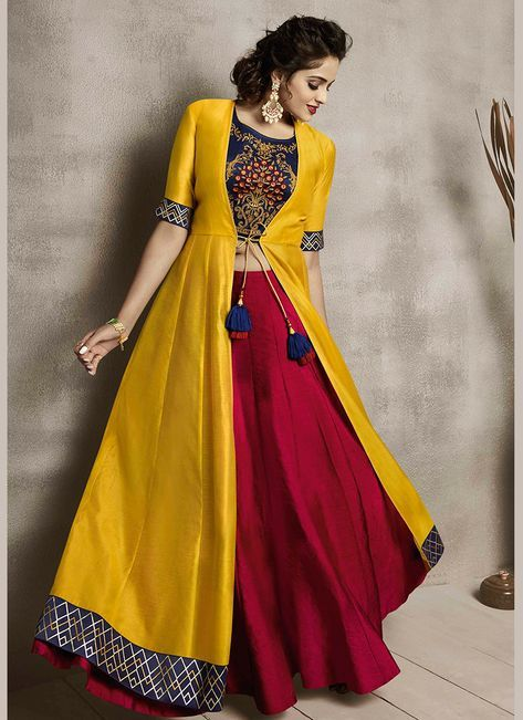 Delectable Embroidered Maroon and Yellow Party Wear Kurti #indiandesignerwear