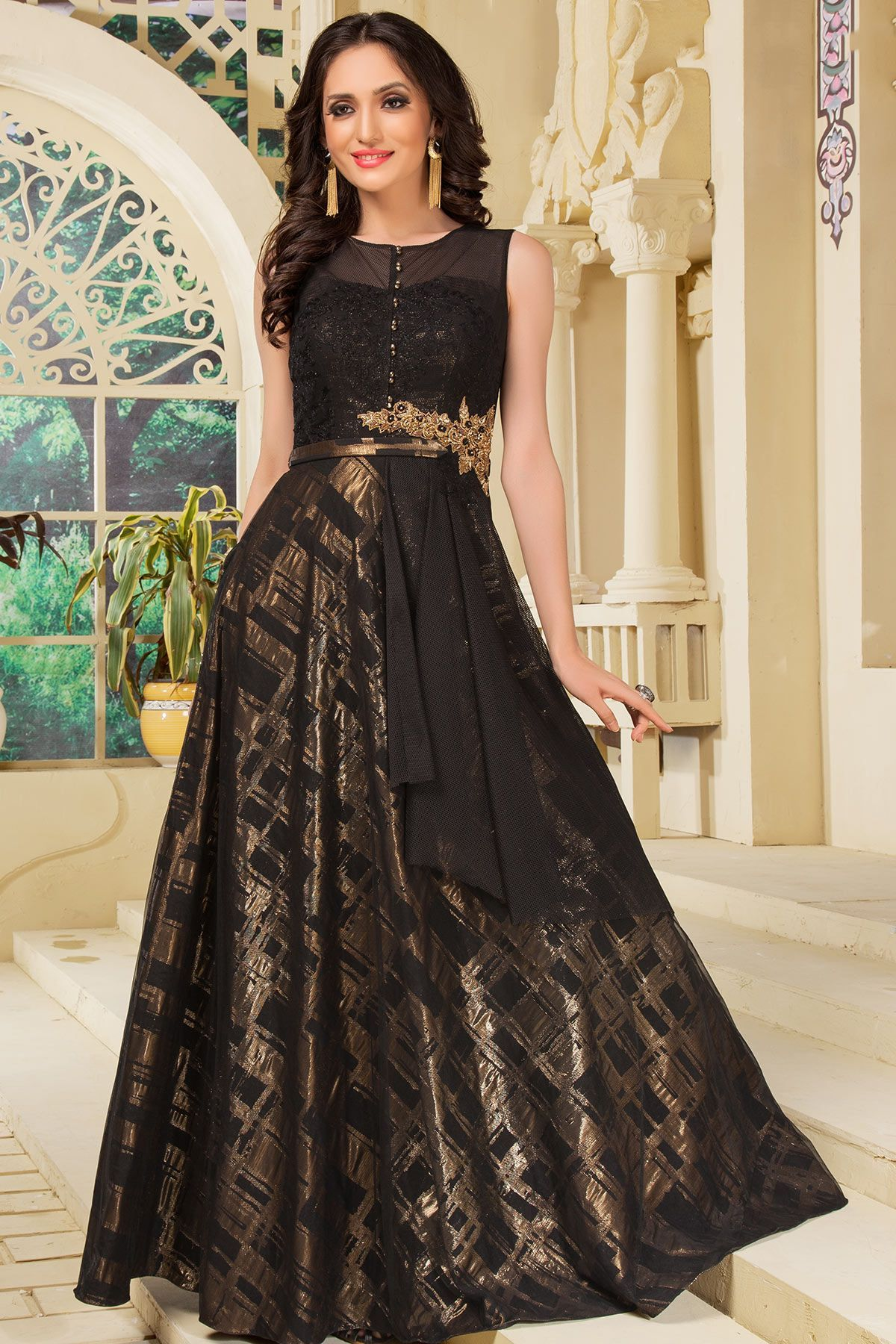 Black & Gold Zari Embroidered Net Indo Western Gowns-GW600 | Gowns ...