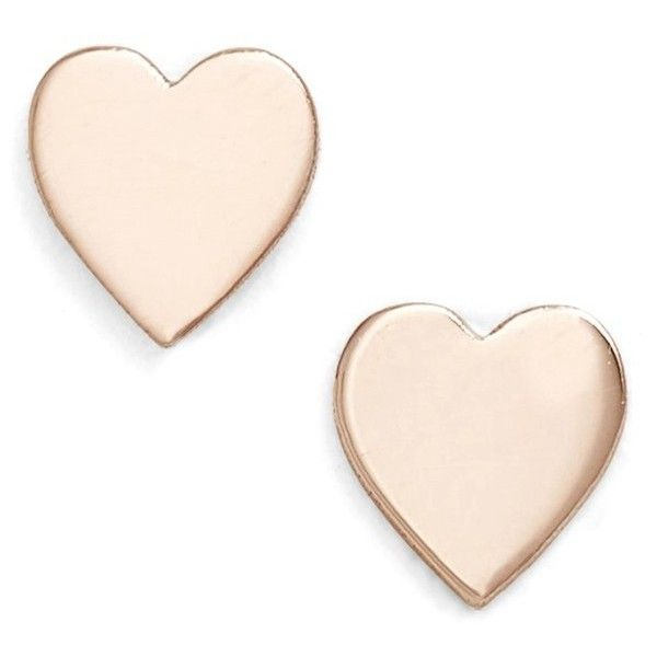 Women's Poppy Finch Mini Sweetheart Stud Earrings (495 BRL) ❤ liked on Polyvore featuring jewelry, earrings, rose gold, pink gold jewelry, 14k rose gold earrings, handcrafted jewelry, 14 karat gold jewelry and 14k rose gold jewelry