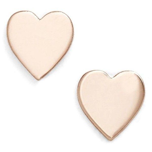 Women's Poppy Finch Mini Sweetheart Stud Earrings (2,970 MXN) ❤ liked on Polyvore featuring jewelry, earrings, accessories, rose gold, 14k earrings, rose gold jewelry, 14k rose gold jewelry, rose gold earrings and pink gold jewelry