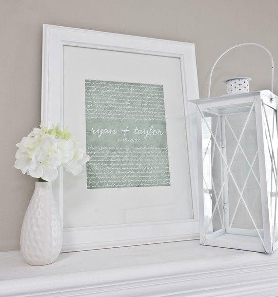 Wedding Vow Gifts: Custom Wedding Vow Art, Wedding Anniversary Gift Giclee