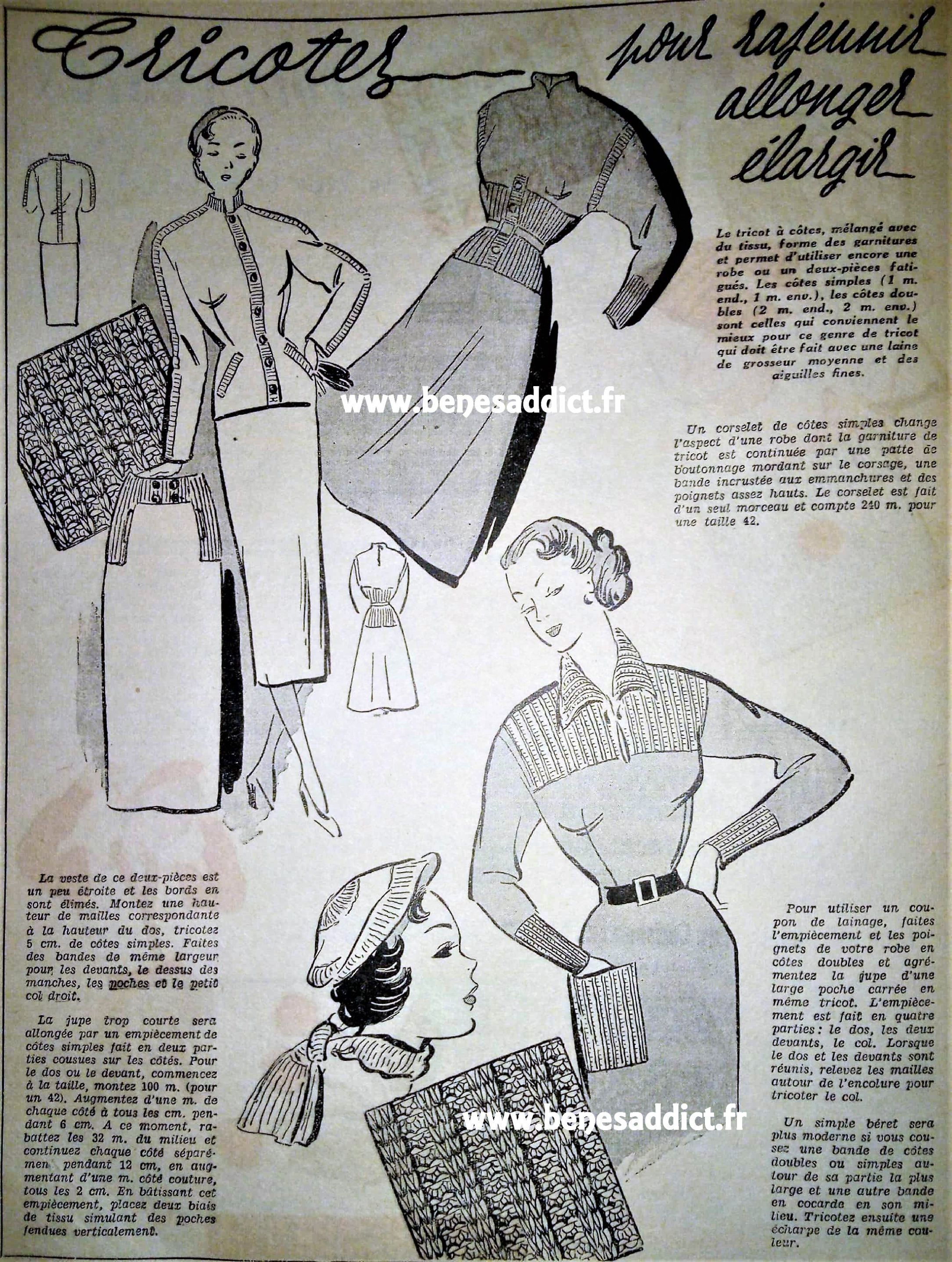 40 Patrons GRATUITS Vintage Tricot Crochet Couture Mon ouvrage 1953 ...