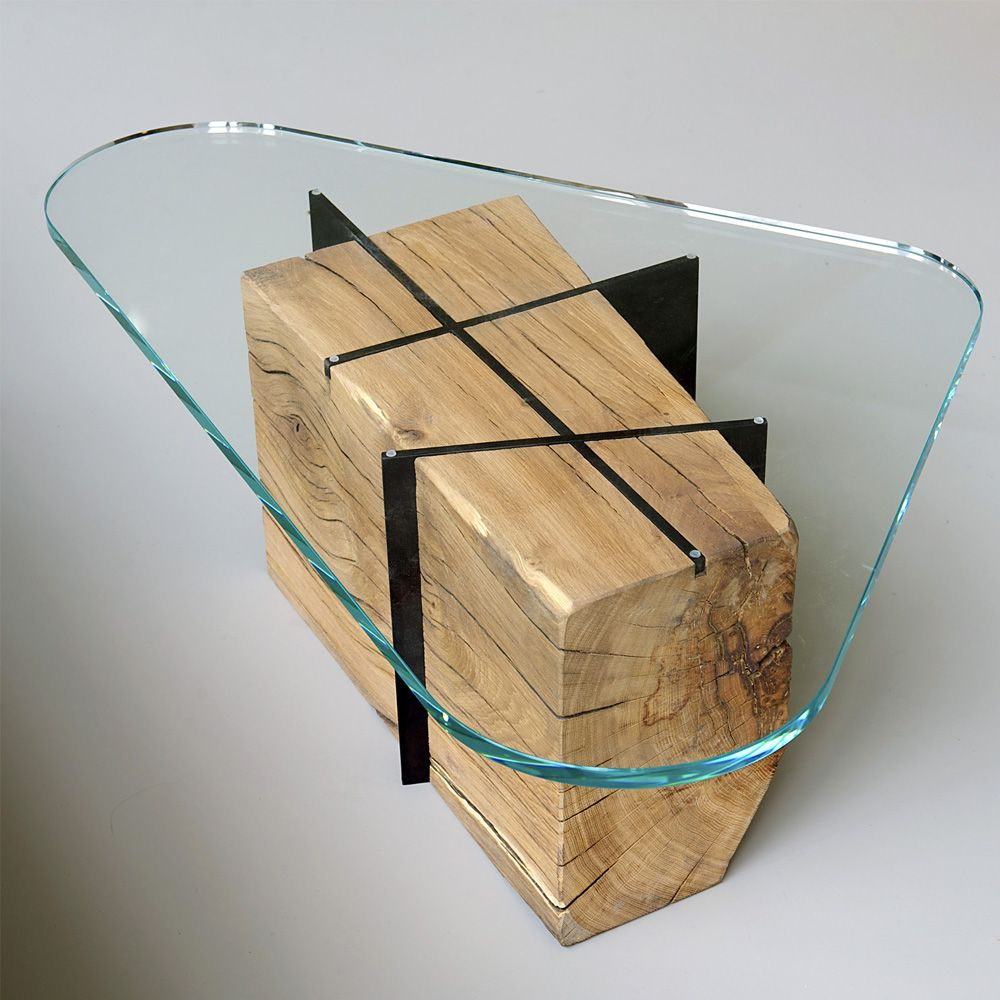 om6.0 rough wood, steel and extra clear glass coffee table