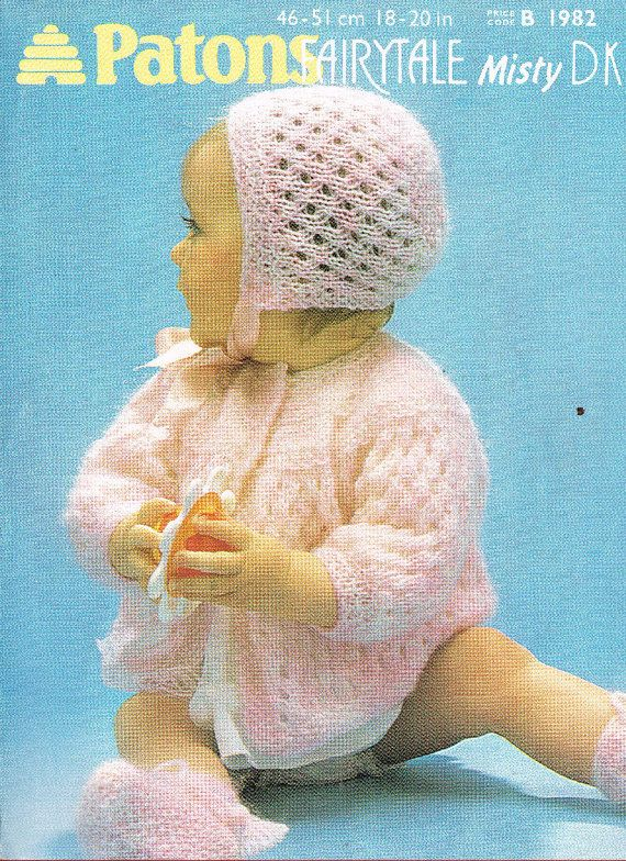 Patons 1982 baby matinee coat and bonnet set vintage ...