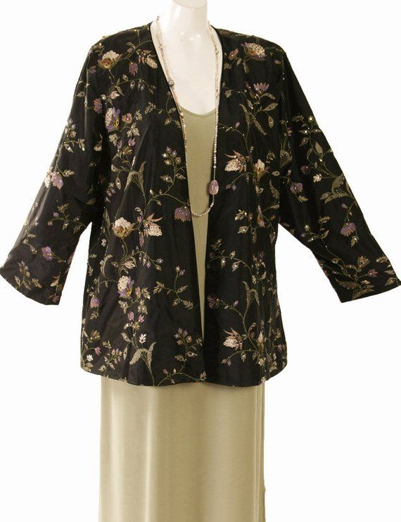 e9c5fbff16d Plus Size Evening Jacket Black Ivory Lavender Green Embroidered Beaded Silk  Formal Special Occasion