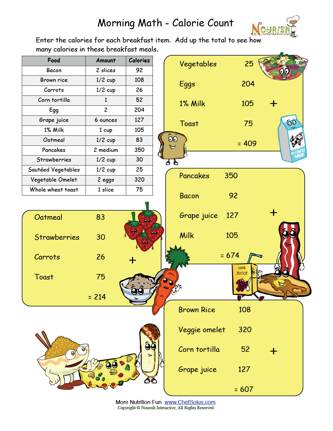 Morning Math- Answer Key | Nutrition Worksheets and Games ...