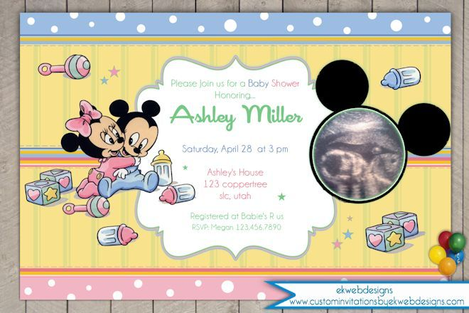 baby mickey and minnie mouse ultrasound baby shower invitation,