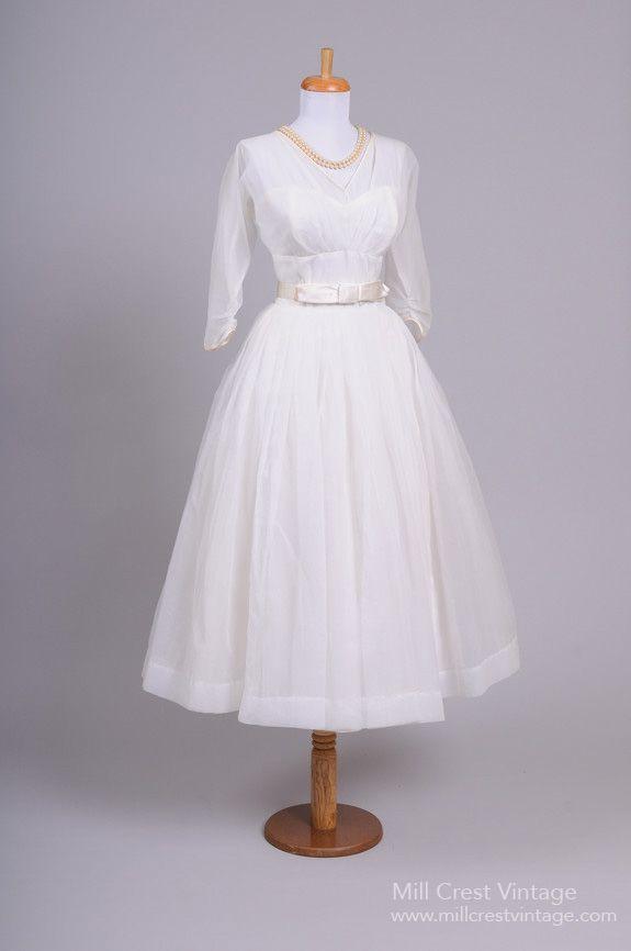 1950s Chiffon Tea Length Wedding Dress