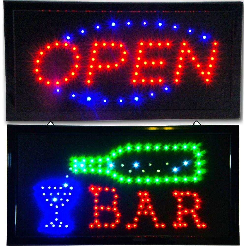 Bright animated bar open led store pub restaurant