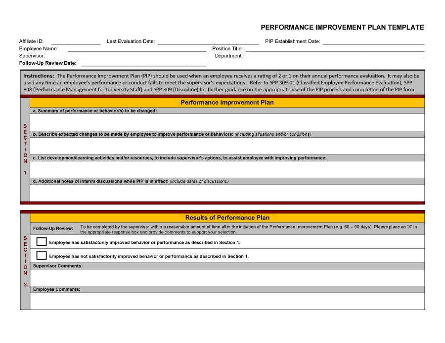 Performance Improvement Plan Template   Quality Rfo