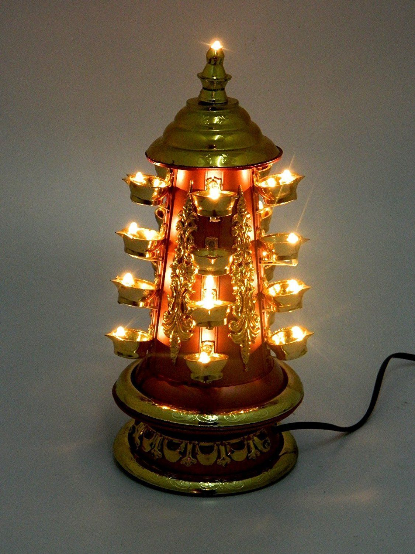 Go Hooked Revolving Decorative Lamp Diya Deepak for Pooja/Puja ... for Lighting Lamps In Pooja Room  70ref