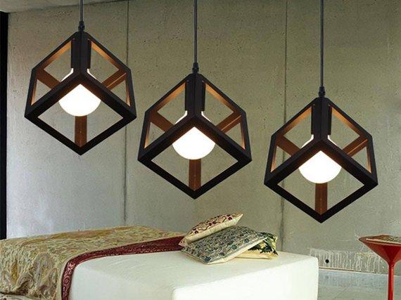 Iron Cube Pendant Light Fixture Hanging Cube Vintage Etsy