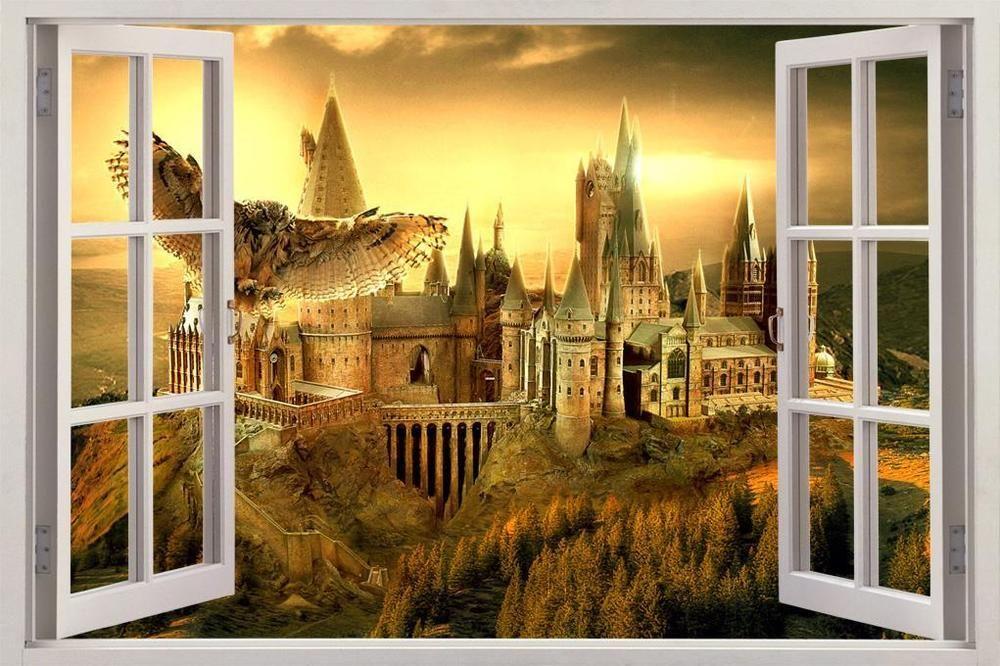 Hogwarts Harry Potter 3D Window View Decal Graphic WALL STICKER Art ...