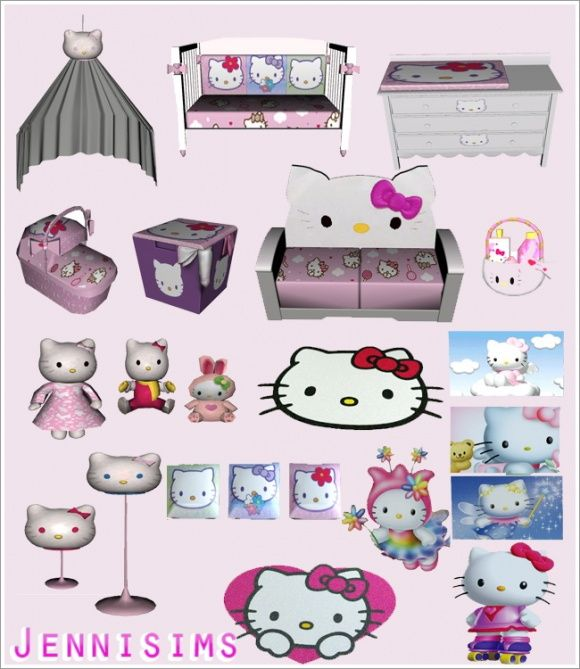 Hello Kitty - Çocuklar Jenni Sims de Set - Sims 3 Bulur