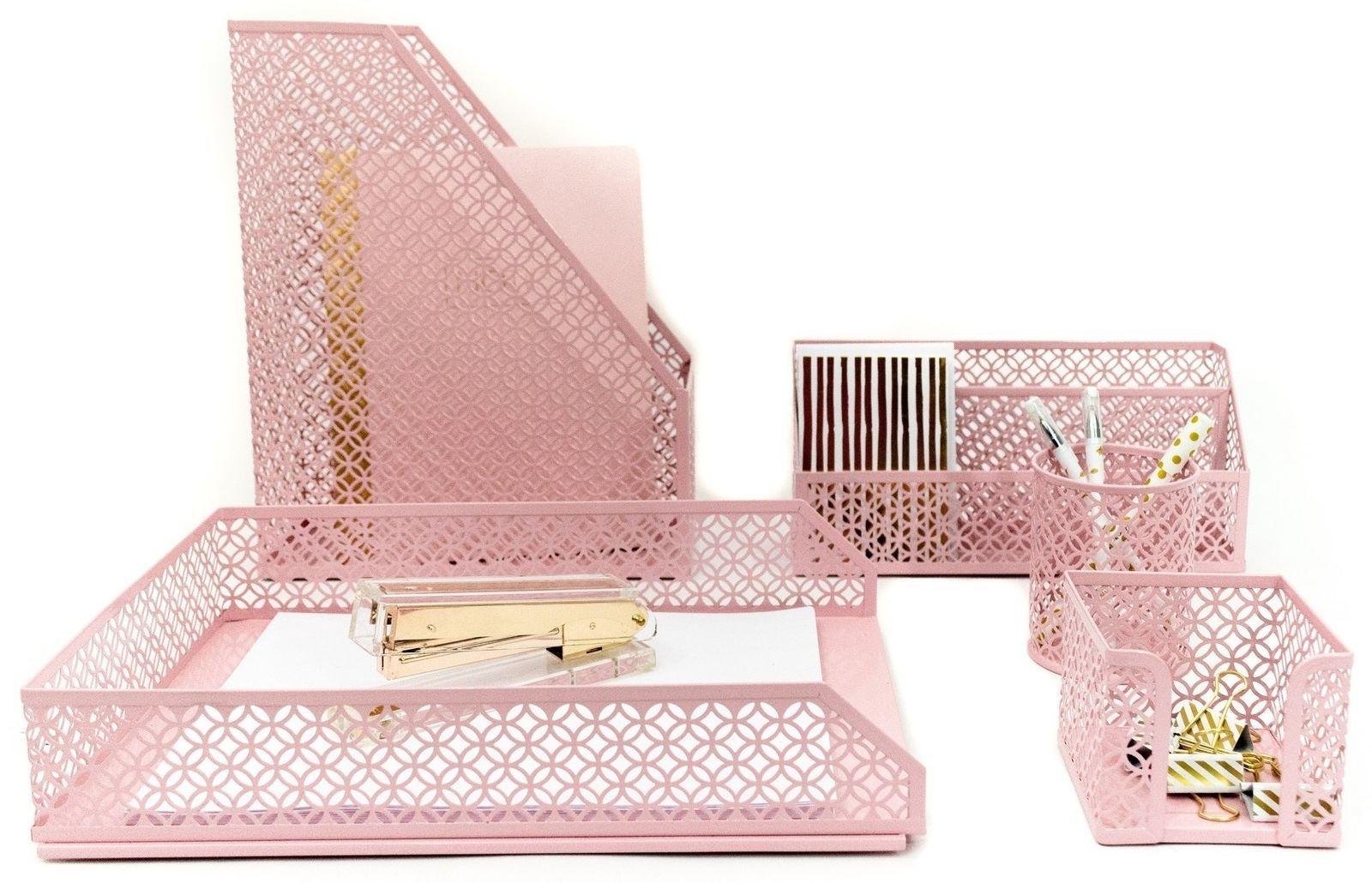 Blu Monaco Pink Desk Organizer for Women 34 Piece Accessories Set
