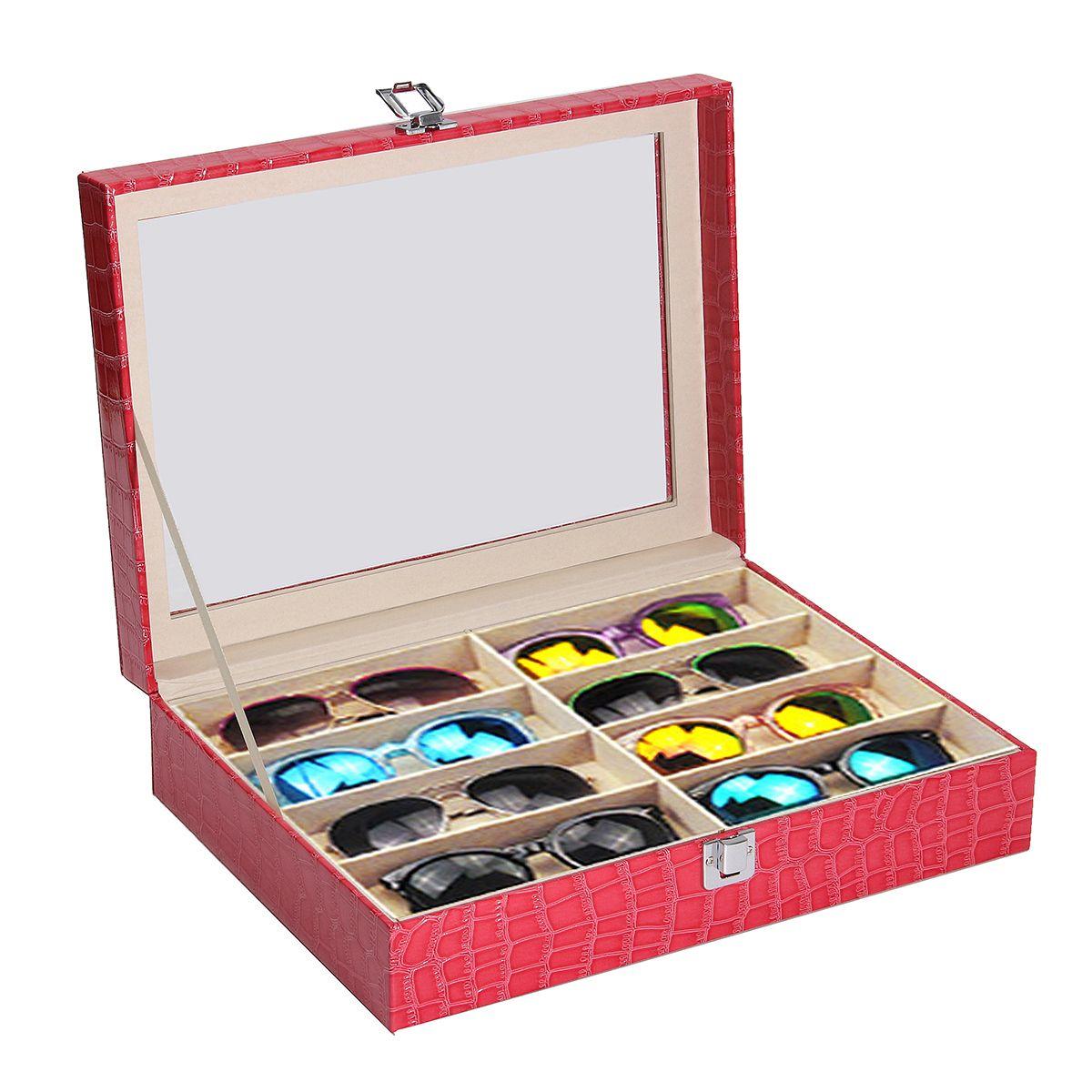 8 rejillas caja de cristal de cuero de la exhibición gafas de sol ...