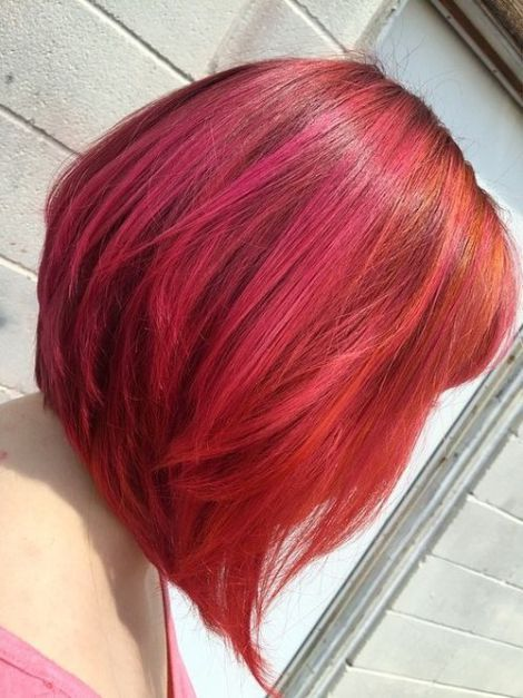 red inverted bob with highlights