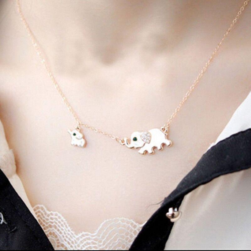 Charme Mama und Baby Elefant Tier Halsband Halskette Kragen Gold Silber Halskette kurze Halsketten Collier femme Schmuck