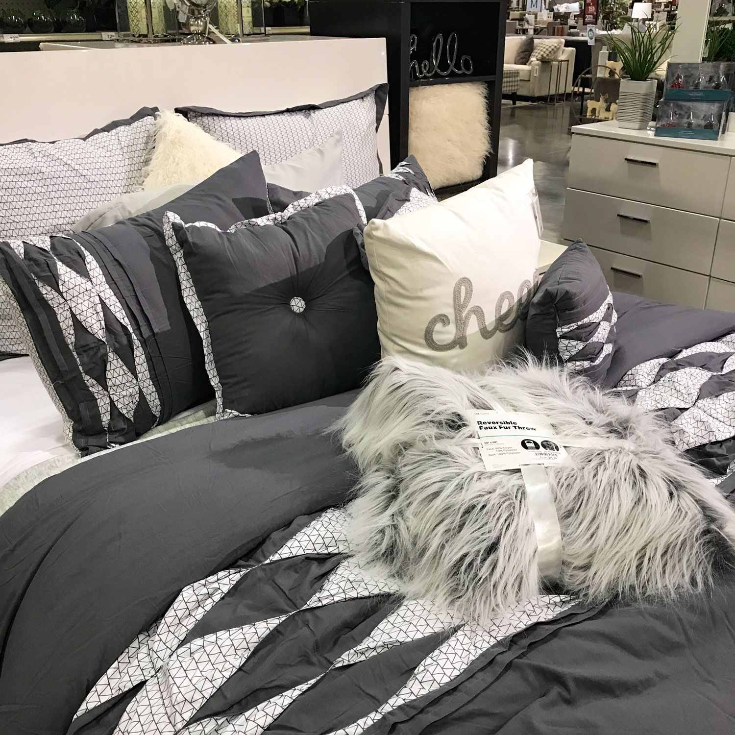 Gray And White Bedding With Fur Accent Pillows And Throw Bed