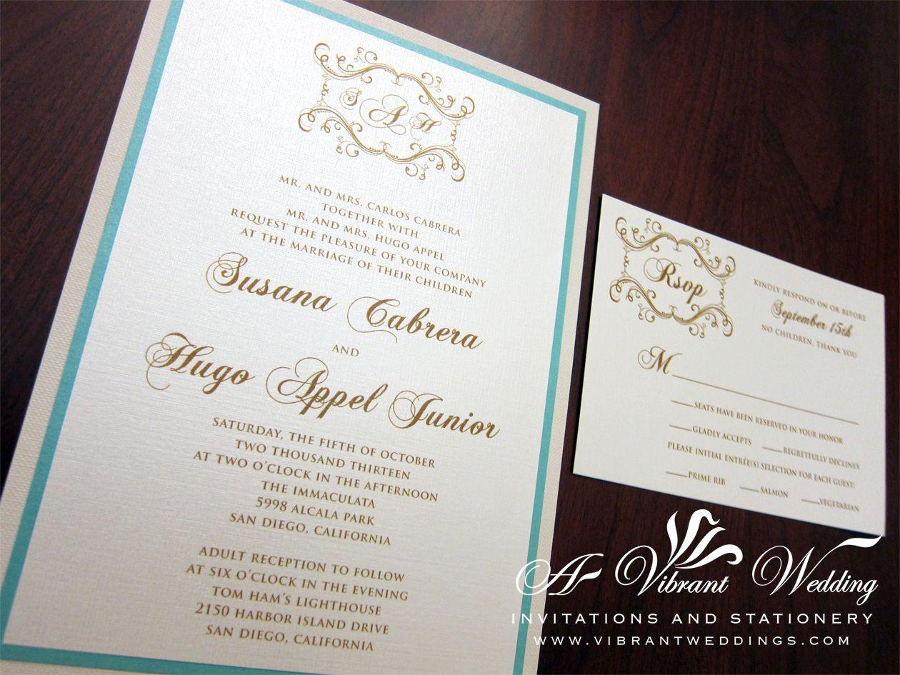 Tiffany blue and Ivory wedding invitation 5x7 triplelayered