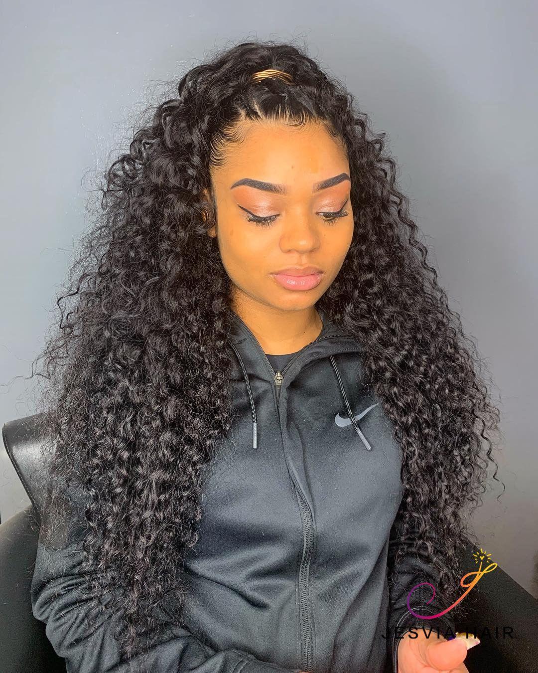 Jesvia Hair Brazilian Deep Wave Hair 3 Bundles With 4x13 Lace Frontal Half Up Half Down Hair Half Up Curls Curly Hair Styles