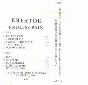 Kreator - Endless Pain (Cassette, Album) at Discogs