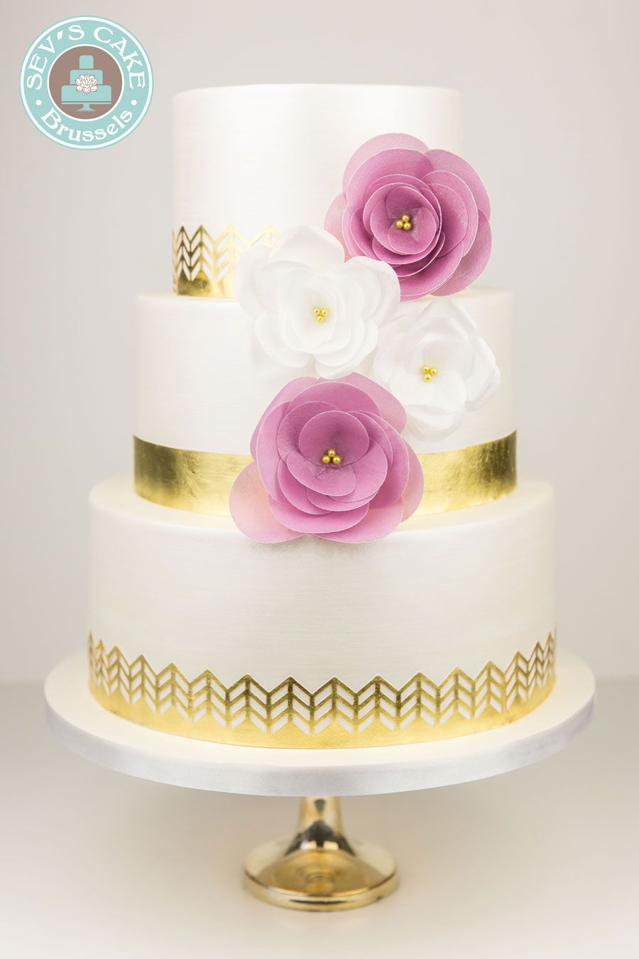 GOLD WEDDING CAKE WITH PAPER FLOWER - GATEAU DE MARIAGE OR AVEC ...