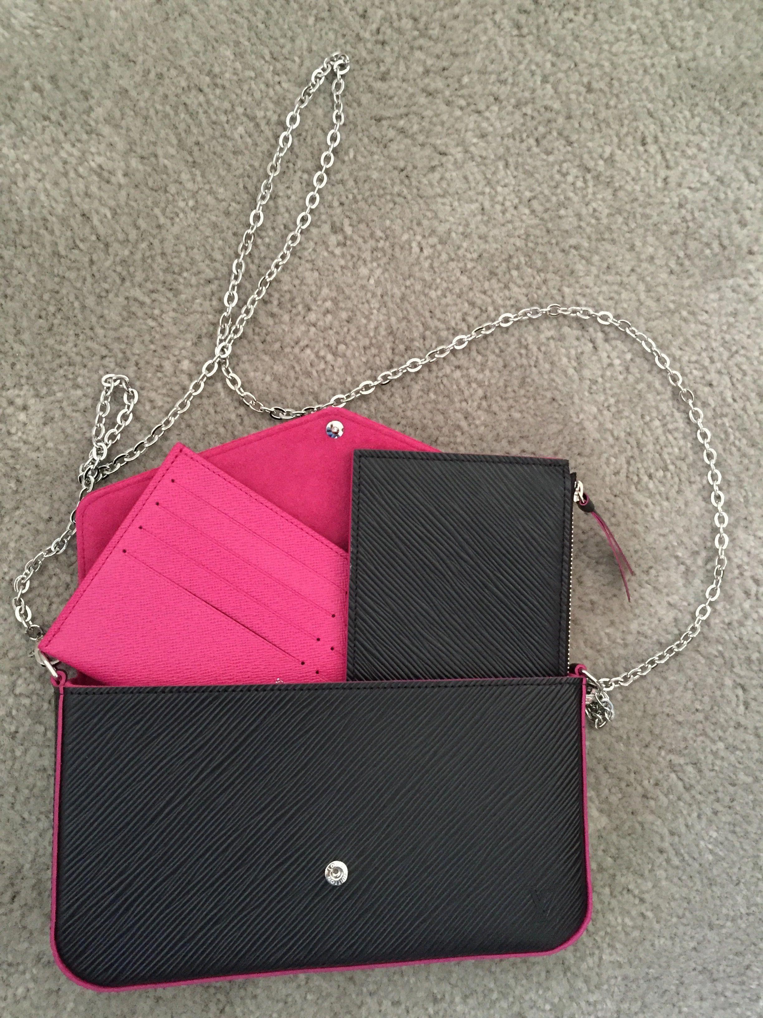 Louis Vuitton POCHETTE FELICIE Epi leather. Pink   black   Louisvuittonhandbags 2bd103ffe929d