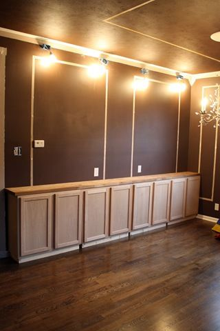 Built-in long sideboard with kitchen cabinets   Dinning ...