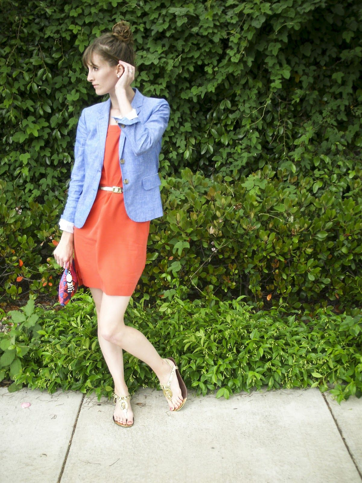 0025d6e48f05 my blazer Conservative Fashion, Modest Outfits, Modest Fashion, Orange  Dress, Style Blog