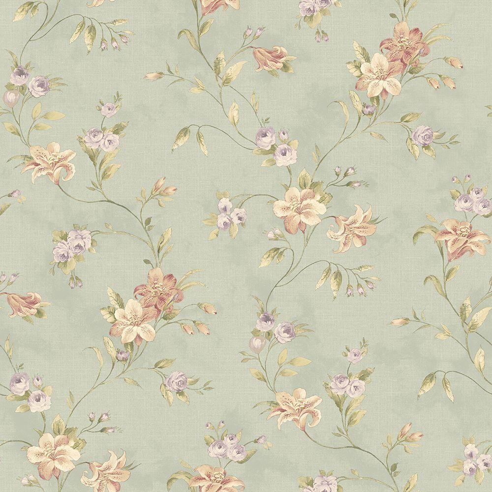 Chesapeake Lorraine Lily Blue Floral Wallpaper Sample Ccb02134sam