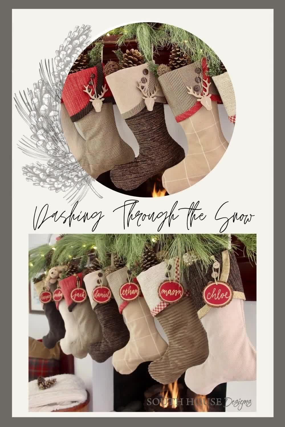 For a casual, earthy, rustic Christmas whether in a log home, ski lodge, mountain cabin, these stockings help set the tone. And they're from South House Designs so you know they are tailored of quality fabrics with the impeccable workmanship. #christmasstockings #rusticchristmas #redbrownchristmas #casualchristmas #cabinchristmas #southhousedesigns