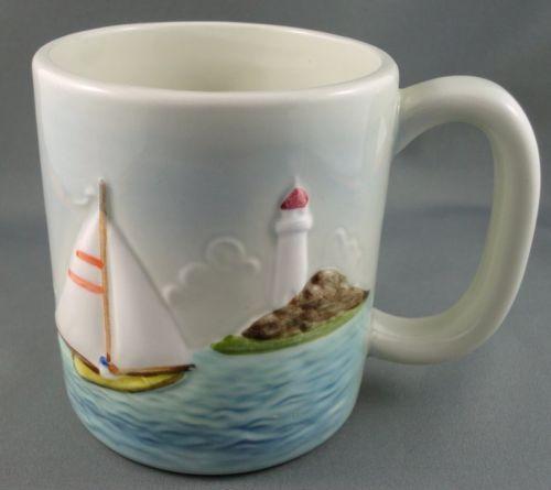 Mug Otagiri Sailboat Boat Lighthouse Seaside Raised Relief 12 oz Original Label