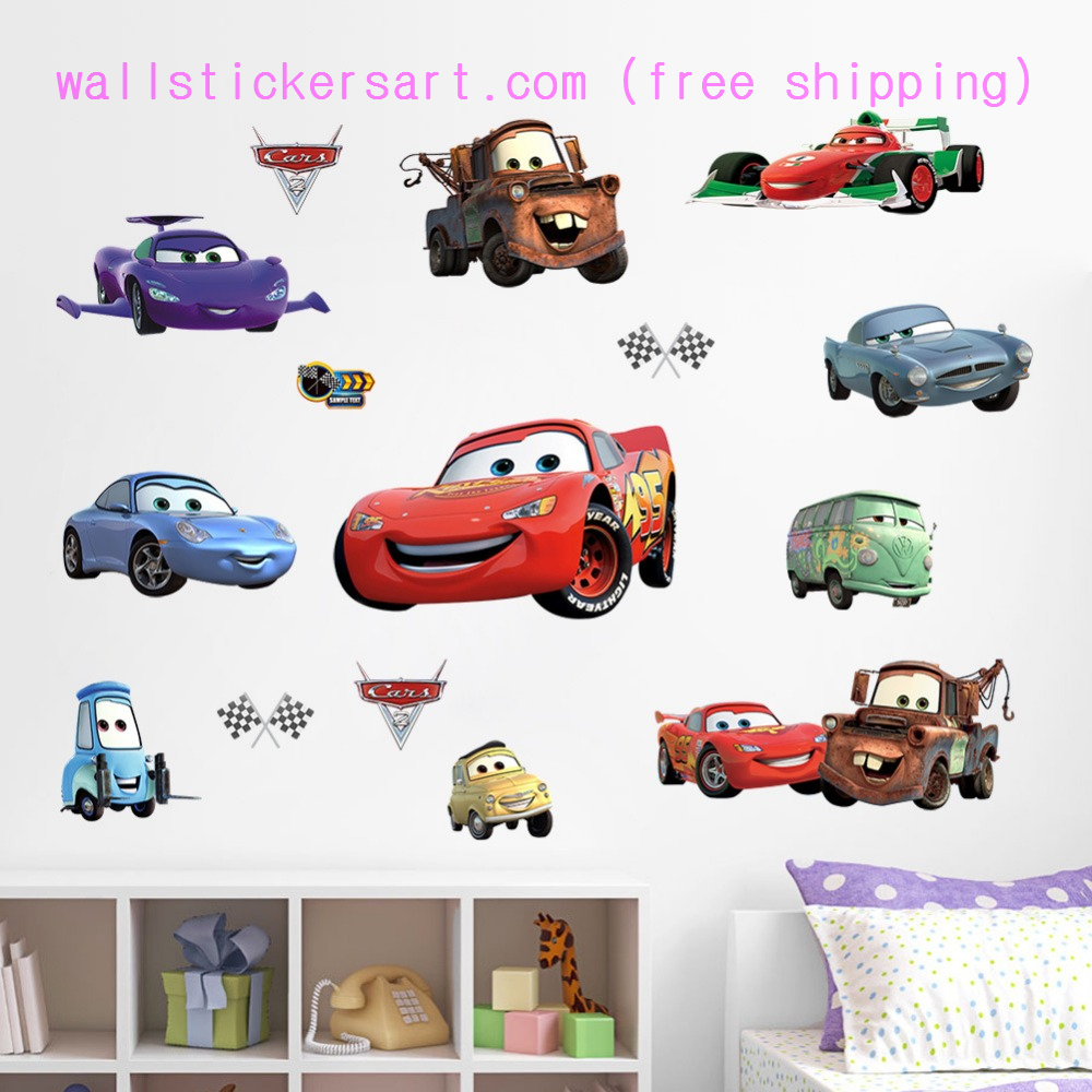 Large Disney Cars Lightning McQueen Boys Room Wall Sticker Adhesive Reusable Art