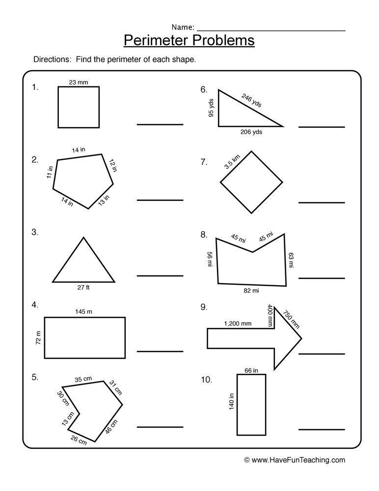 Perimeter Shape Problems Worksheet Perimeter Worksheets Area