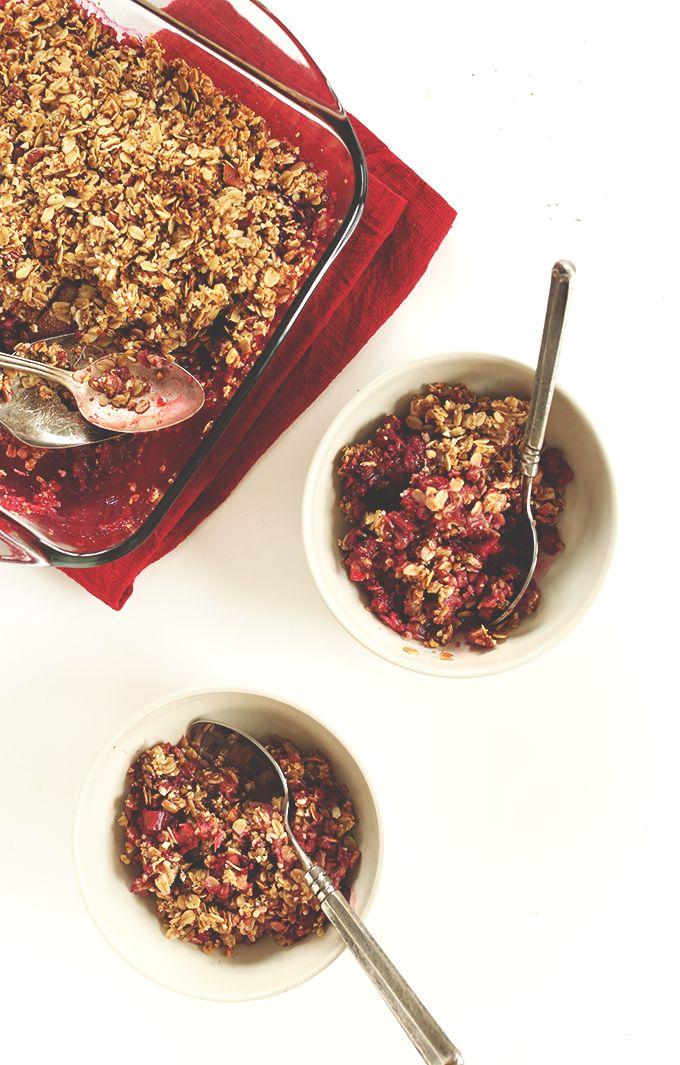 Raspberry Rhubarb Crisp Minimalist Baker Recipes Recipe Raspberry Rhubarb Crisp Rhubarb Crisp Raspberry Rhubarb