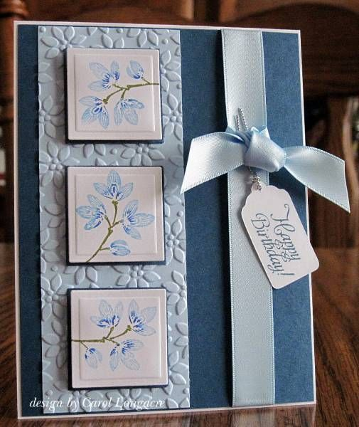 lovely handmade inchie card ... in blues ... luv the soft blues ... three inchies in a column ... lovely ... Stampin' Up!