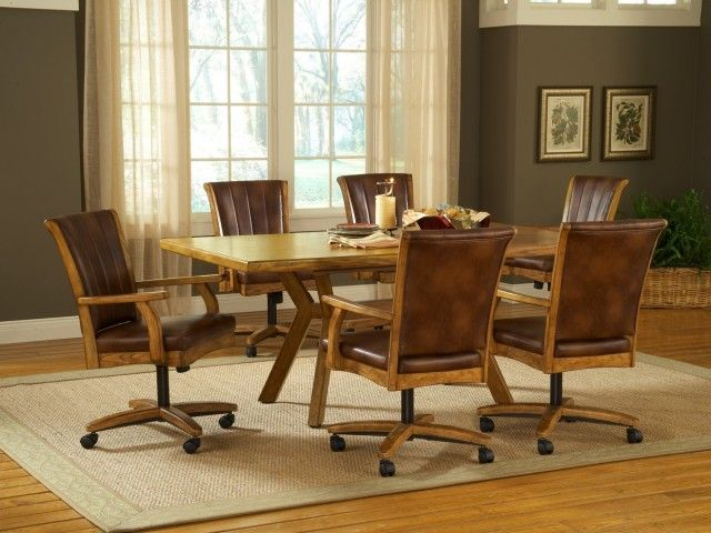 Top 10 Dining Room Chairs With Casters 2016 Dining Room Sets Leather Kitchen Chairs