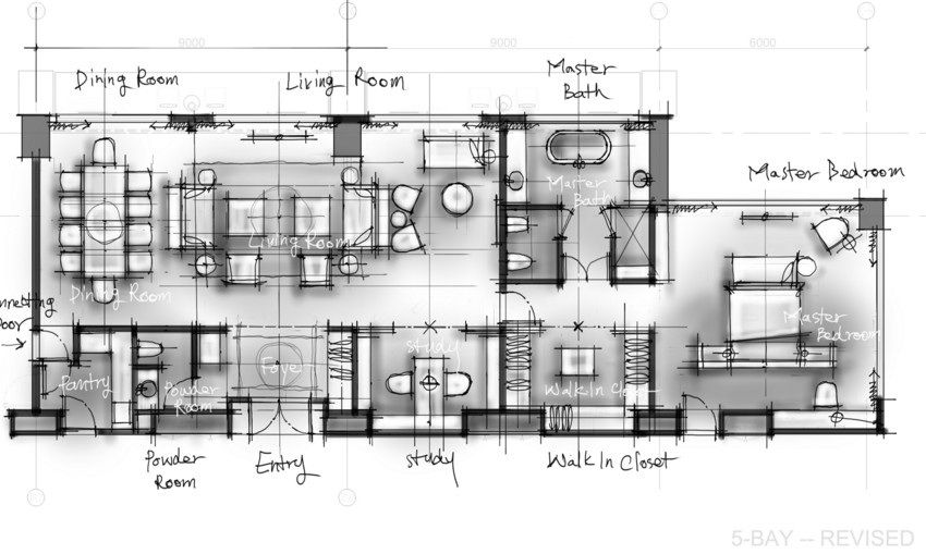 Hotel Plan Floor Drawing Sketch Layout