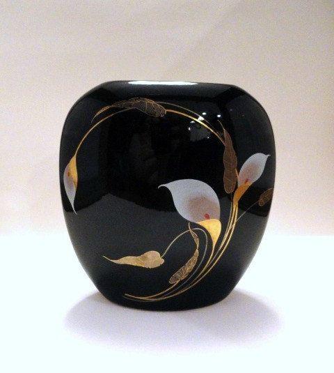 Vintage Golden Calla Otagiri Spherical Vase