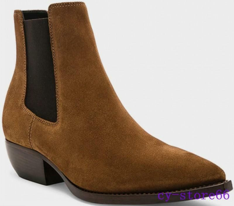 Mens Shoes Ankle Boots British Real Suede Leather Cuban Heel Shoes Chealsa Boots