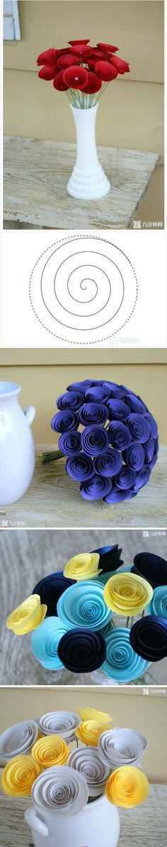 flores de papel cartulina en espiral