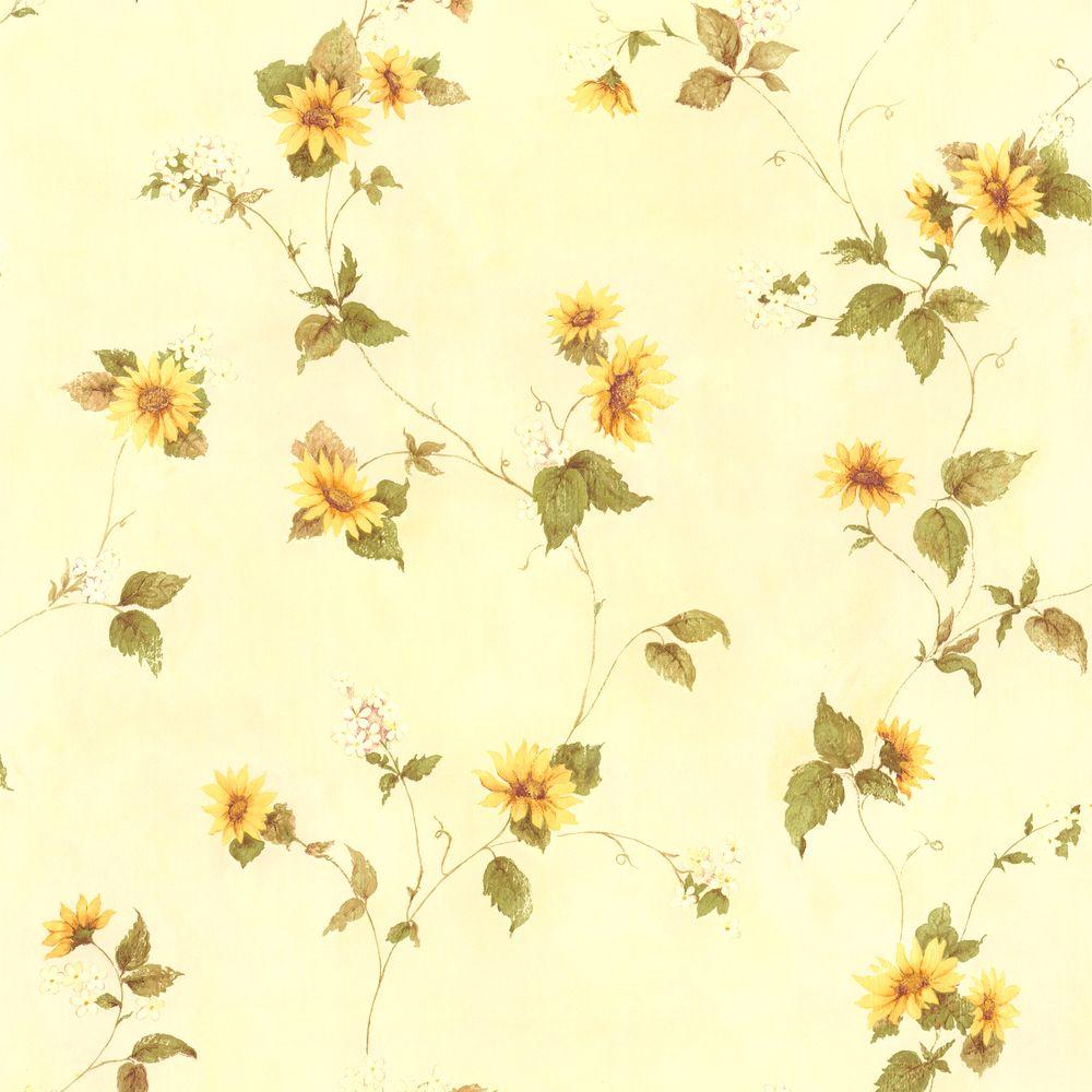 August Yellow Floral Trail Wallpaper 414 45177 Yellow Flower