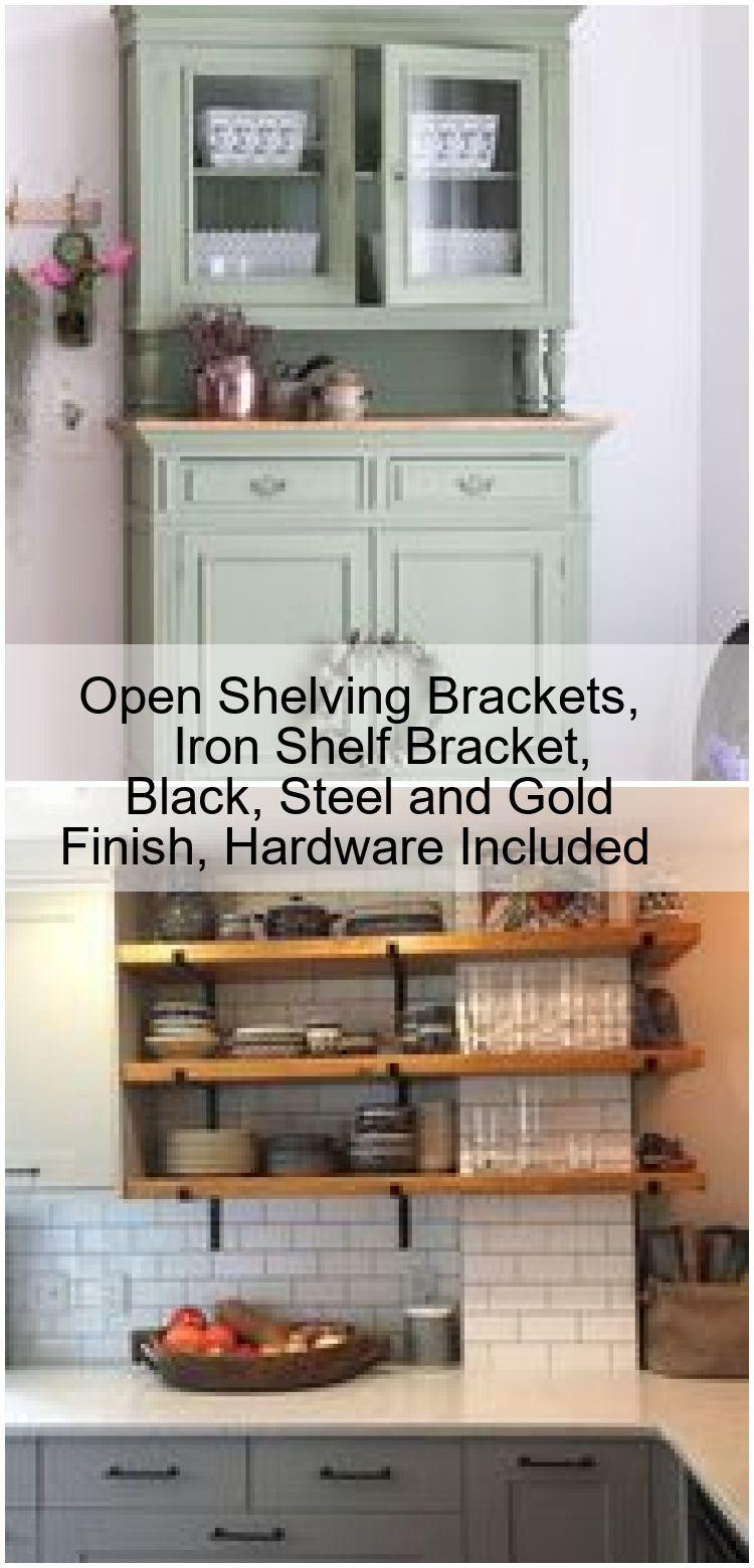 Open Shelving Brackets Iron Shelf Bracket Black Steel And Gold Finish Hardware Included Welcome To Blog Iron Shelf Open Shelving Iron Shelf Brackets